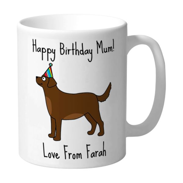 Happy Birthday Mum Labrador Brown With Party Hat Personalised Mug